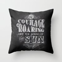 courage Throw Pillows featuring Courage by JenHoney