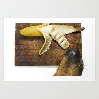 Dog and the Banana Art Print
