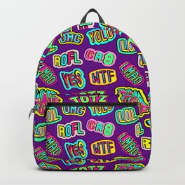 Colorful design with word patches. Backpack