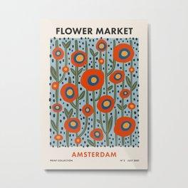 Flower Market Amsterdam, Modern Retro Flower Print Metal Print