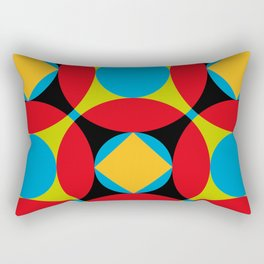 Very colorful circles, squares, intersections, geometrical fantasy. Rectangular Pillow