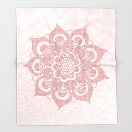 Elegant Rose Gold Mandala Throw Blanket