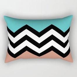 AQUA & DARK CORAL CHEVRON COLORBLOCK Rectangular Pillow