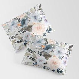 Loose Blue and Peach Floral Watercolor Bouquet  Pillow Sham