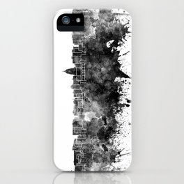 Madison skyline in black watercolor on white background iPhone Case