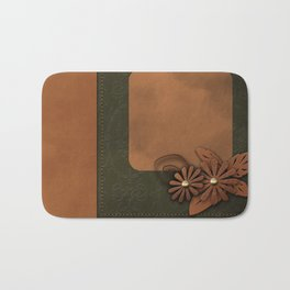 """A series of """"Covers for notebooks"""" . Brown and green leather. Bath Mat"""