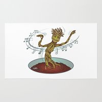 guardians of the galaxy Area & Throw Rugs featuring Guardians of the Galaxy - Dancing Baby GROOT by Teo Hoble