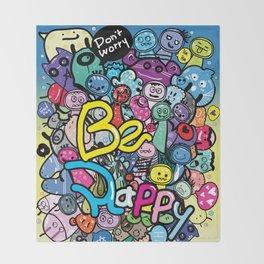 Be Happy doodle monster Throw Blanket