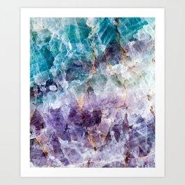 Turquoise & Purple Quartz Crystal Art Print