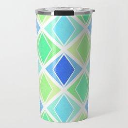 Layered Diamonds Geometric Pattern - Blue & Green Travel Mug
