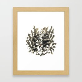 Tiger in bamboo forest Framed Art Print