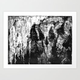 monotype of tall grasses in wind Art Print