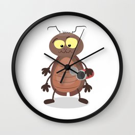 Funny cockroach cartoon Wall Clock