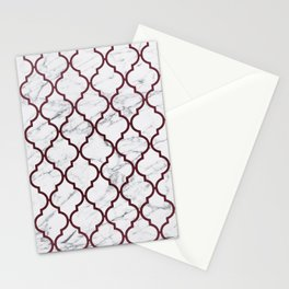 Burgundy gray white marble moroccan quatrefoil Stationery Cards