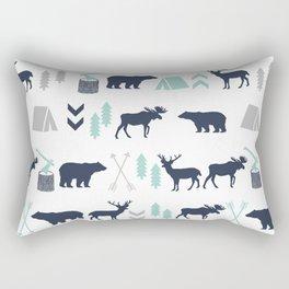 Camper pattern minimal nursery basic grey navy mint white camping cabin chalet decor Rectangular Pillow
