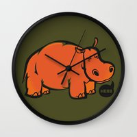 hippo Wall Clocks featuring Hippo by ILINDESIGNS