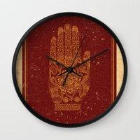 hamsa Wall Clocks featuring Hamsa by Stranger Designs