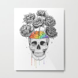 Skull with rainbow brains Metal Print