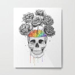 Skull with rainbow brains Metal Print