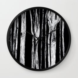 Black and White Forest Wall Clock