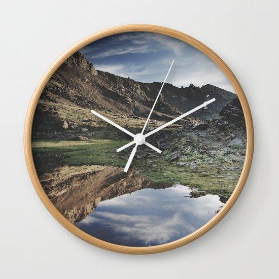 Dream Lake at the mountains. Retro Wall Clock