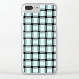Light Cyan Weave Clear iPhone Case