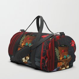 Steampunk, awesome, skull with rat and crow Duffle Bag