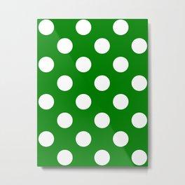 Large Polka Dots - White on Green Metal Print