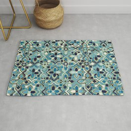 Moody Moroccan Blues Gilded Tile Patchwork Pattern Rug