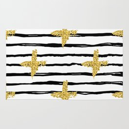 Gold glitter cross and black stripe Rug