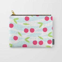 Seamless cherry pattern on striped Carry-All Pouch