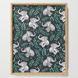 Laughing Baby Elephants – emerald and turquoise Serving Tray