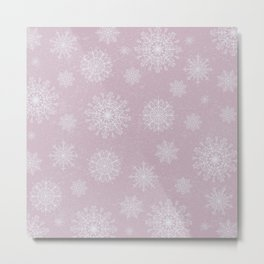 Assorted Snowflakes On Pink Background Metal Print