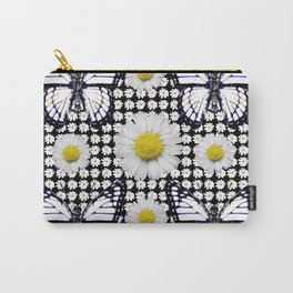 BLACK-WHITE DAISIES & MONARCH BUTTERFLIES ART Carry-All Pouch