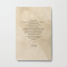 Ayn Rand Quote 02 - Typewriter Quote on Old Paper - Minimalist Literary Print Metal Print