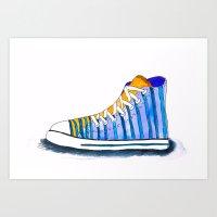 watercolor fashion sneakers Art Print