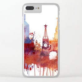 Moscow Watercolor Skyline Clear iPhone Case