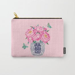 peony bouquet in ginger jar/pink Carry-All Pouch