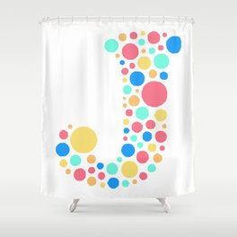 J Pastel Dots Shower Curtain