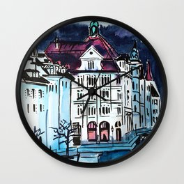 European city landscape Wall Clock