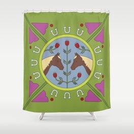 Horse Folk Art Illustration Shower Curtain