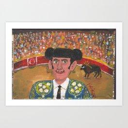 The Mustache Bullfighter El Torero del Bigotito Juan Manuel Rocha Kinkin Art Print