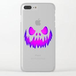 Evil pumpkin purple Clear iPhone Case