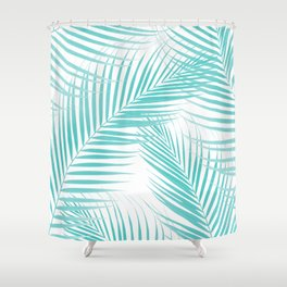 Soft Turquoise Palm Leaves Dream - Cali Summer Vibes #2 #tropical #decor #art #society6 Shower Curtain
