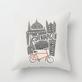 Copenhagen Cityscape Throw Pillow