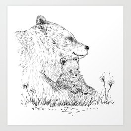 Mom and Baby Grizzly Bear Art Print