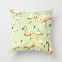 flamingos Throw Pillows featuring Flamingos by Lisa Argyropoulos