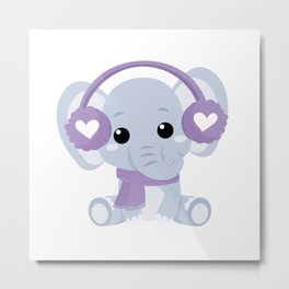 Sweet Baby Elephant Girl in Winter Metal Print