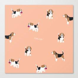 Salmon Pink Beagle Canvas Print