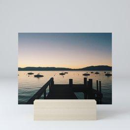 Sunset on Tahoe Pier 1 Mini Art Print